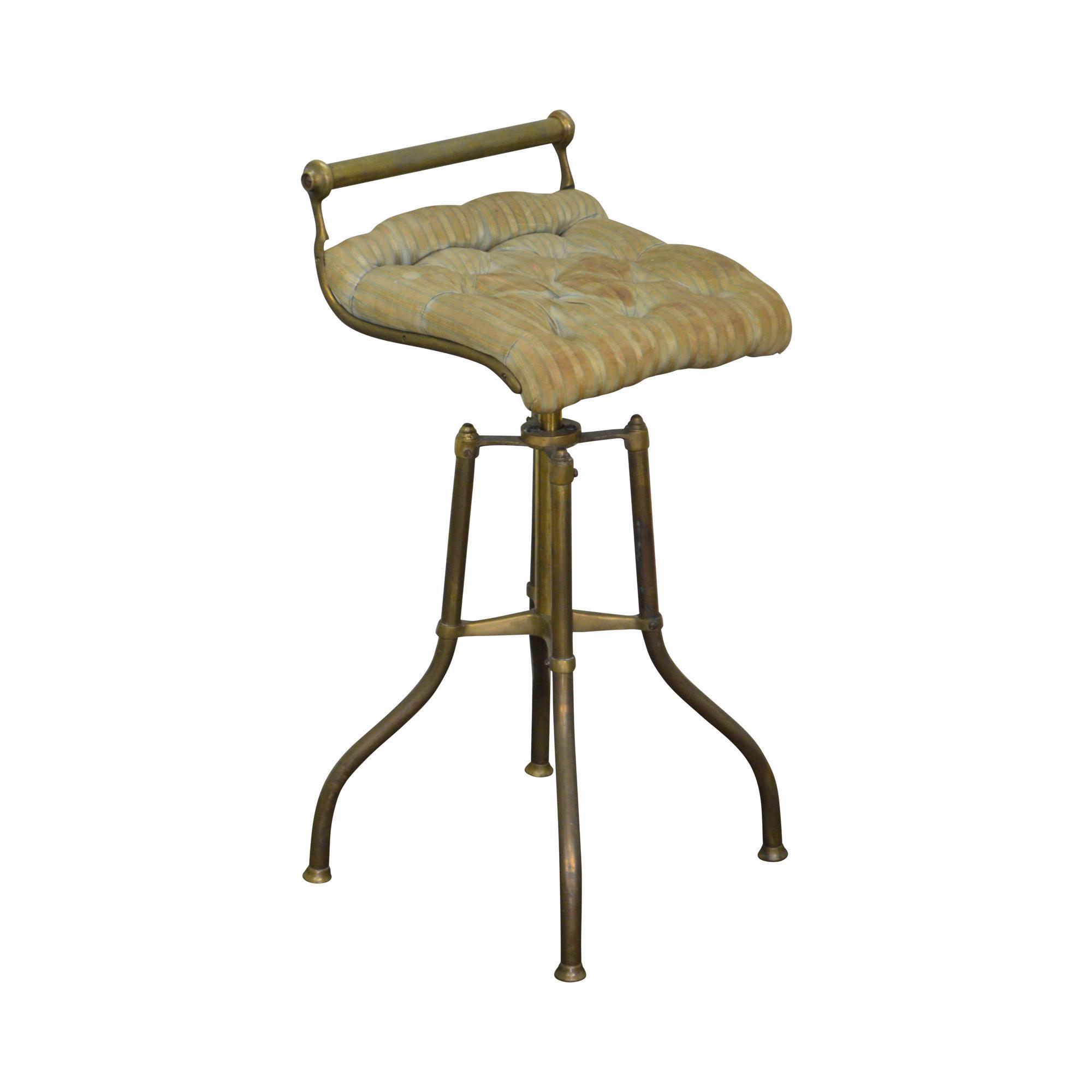 Antique Brass Adjustable Vanity Stool