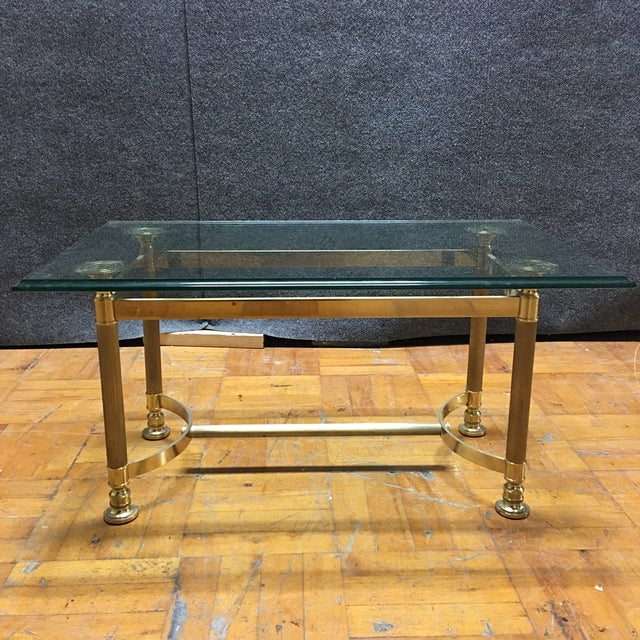 Hollywood Regency Brass & Glass Coffee Table - Image 2 of 6