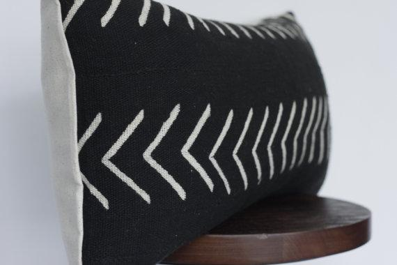 Lumbar Black and White Arrow Mudcloth Pillow Cover