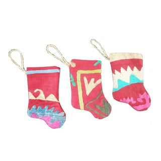 Handmade Mini Suzani Stocking Ornaments - Set of 3