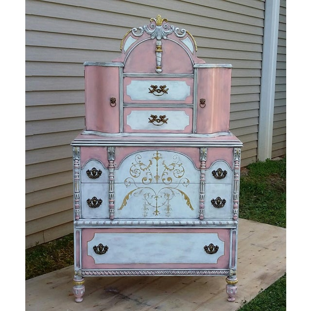 Antiqued Pink & Gold French-Style Dresser - Image 2 of 11