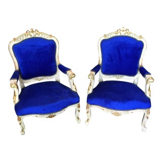 Blue Velvet Chairs - A Pair