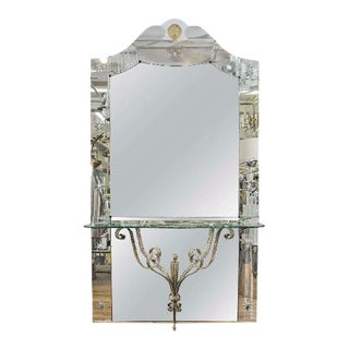 Italian Hollywood Regency Mirror With Console Shelf