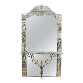 Italian Hollywood Regency Mirror With Console Shelf