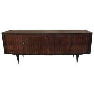 French Art Deco Macassar Ebony Mother-of-Pearl Buffet with Center Dry Bar