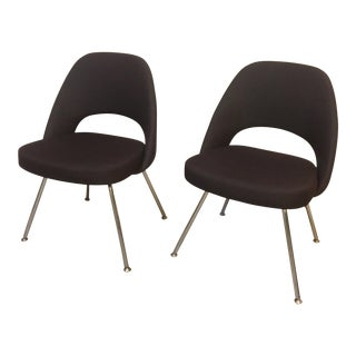 Brown Eero Saarinen by Knoll Executive Side Chairs - A Pair