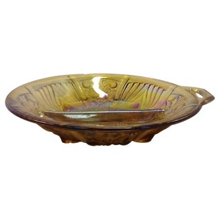 Iridized Carnival Glass Divided Bowl