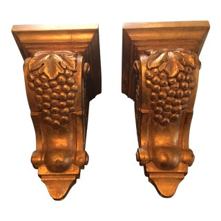 Ethan Allen Large Gold Decorative Sconce Shelves - a Pair