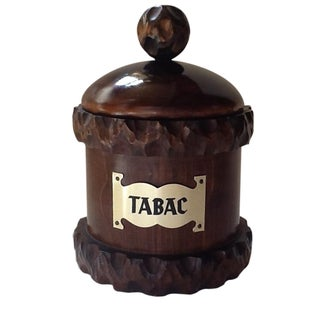 Vintage Wooden Tobacco Tabac Container