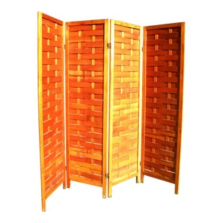 Vintage Paneled Wood Room Divider