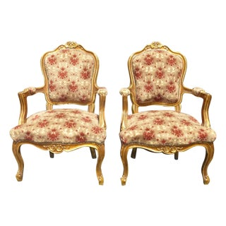 Antique French Louis XV Gilt Arm Chairs - Pair