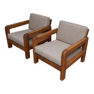 California Modern Solid Oak Lounge Chairs - Pair