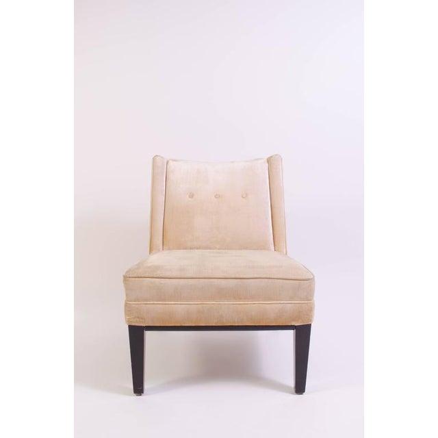 Image of Dunbar Style Slipper Chairs in Champagne Linen Velvet