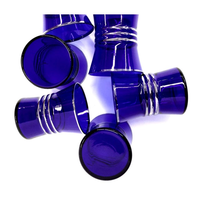 Cobalt Blue Shot/Juice Glasses W Silver Trim - S/6 - Image 4 of 9
