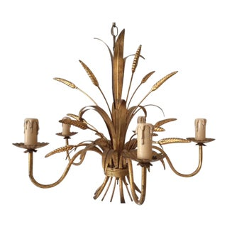 Vintage Hollywood Regency Gilt Wheat Metal Chandelier