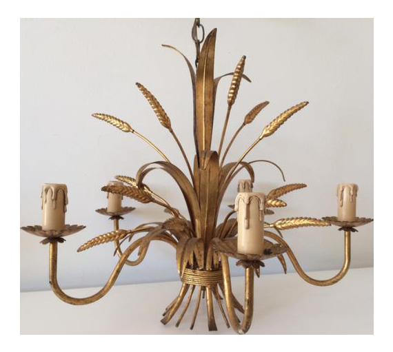 vintage hollywood regency gilt wheat metal chandelier