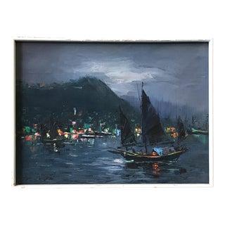 Mid-Century Nautical Oil Painting