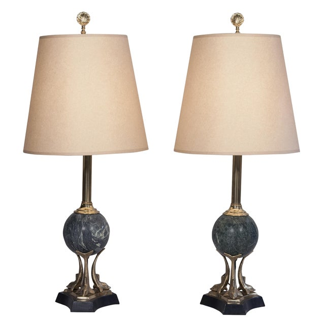 Image of 1960s Green Marble Table Lamps - A Pair