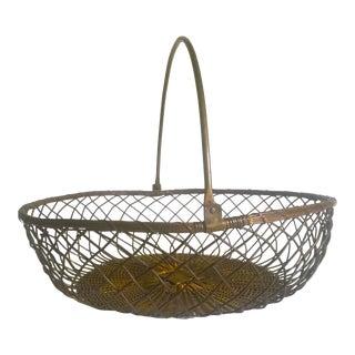 Vintage 1940's Brass Handwoven French Market Basket