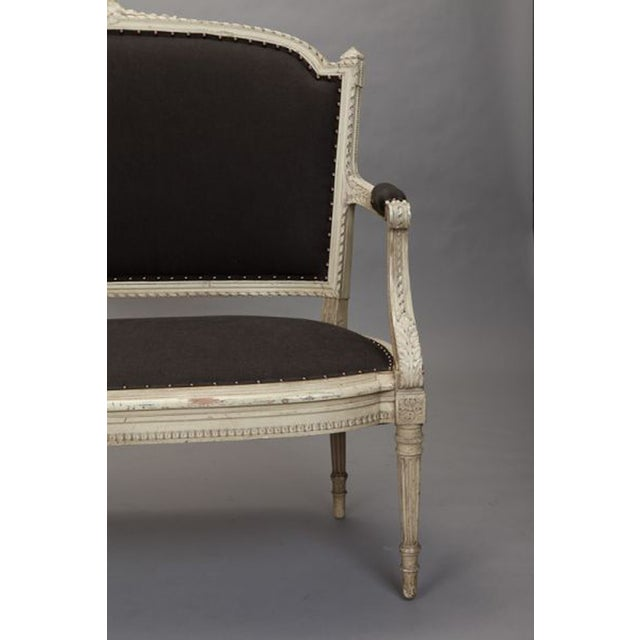 French Cream Painted Settee, Dark Gray Upholstery - Image 3 of 7