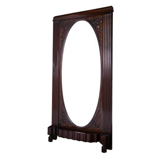 Solid Mahogany Art Deco Freestanding Grand Mirror
