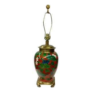 Vintage Hand Painted Porcelain & Brass Table Lamp