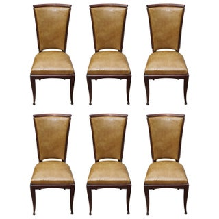 French Art Deco Walnut Dining Chairs - Set of 8