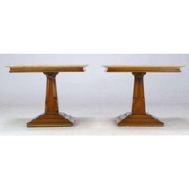 Pair Spanish Revival Maple & Portugese Travertine Side Tables - Image 3 of 7