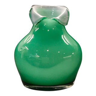 Vintage Makora Hand-Blown Mint Green Glass Vase