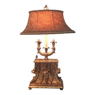Gold Com Lamp with Velvet Silk Oval Shade