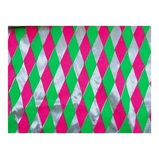Retro Neon Pink Green Satin Fabric - 3 Yards