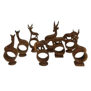 Hand-Carved Wild Animals Napkin Rings - Set of 8