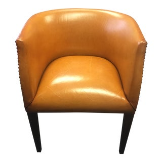 Modern History Continental Leather Barrel Chair