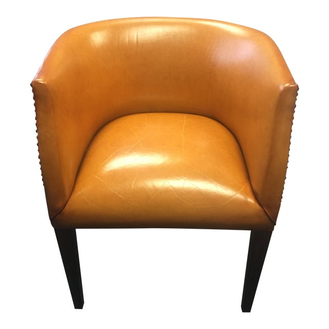 Modern History Continental Leather Barrel Chair - Image 1 of 8
