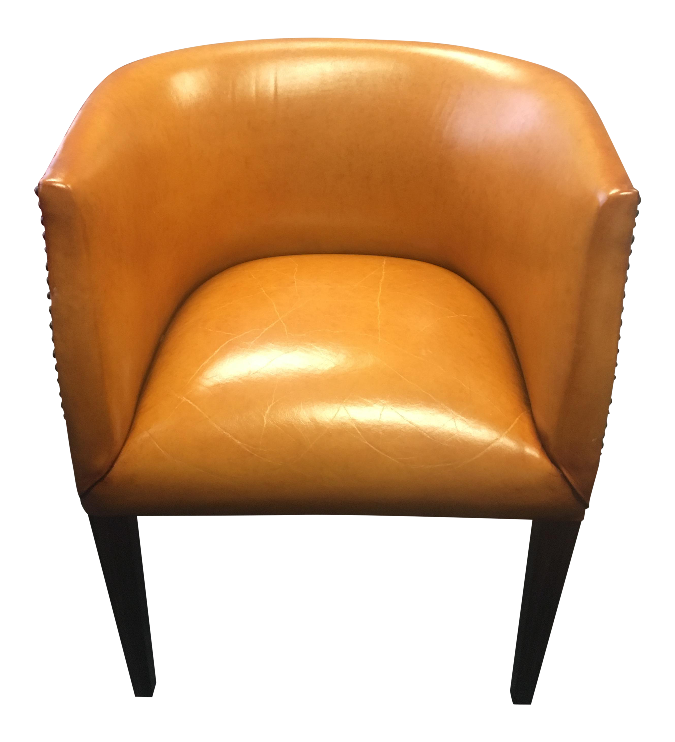 Modern History Continental Leather Barrel Chair   Image 1 Of 8
