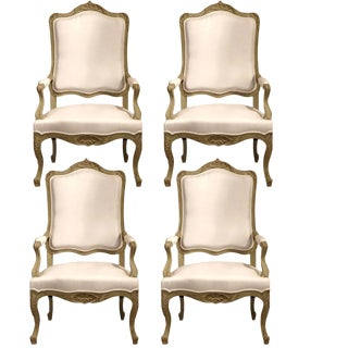 Early 19th C French Louis XV Carved Painted Armchairs - Set of 4
