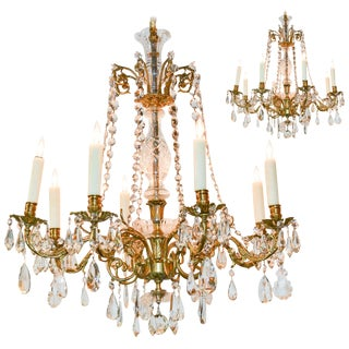 Pair of French Gilt Bronze & Crystal Chandeliers