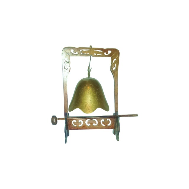 Antique Buddhist Brass & Wood Table Gong Bell - Image 1 of 6