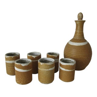 1970's Mid-Century Ceramic Bottle & Cups Set - Set of 7