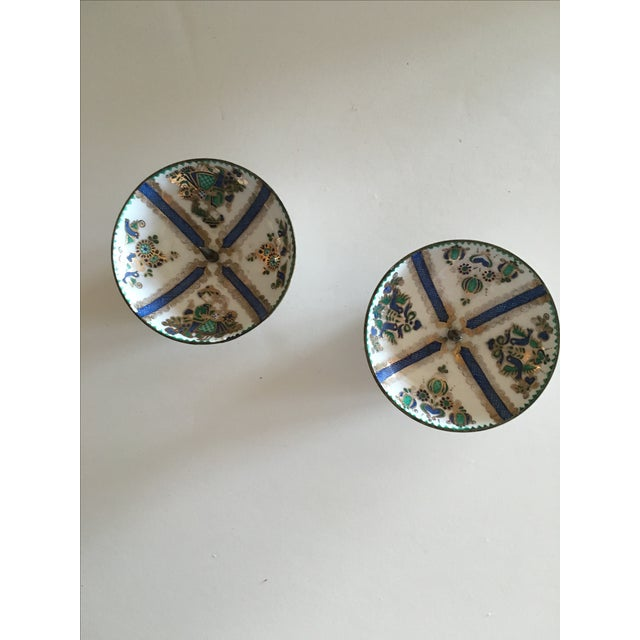 Image of 1960's Enamel Taper Candle Holders - A Pair