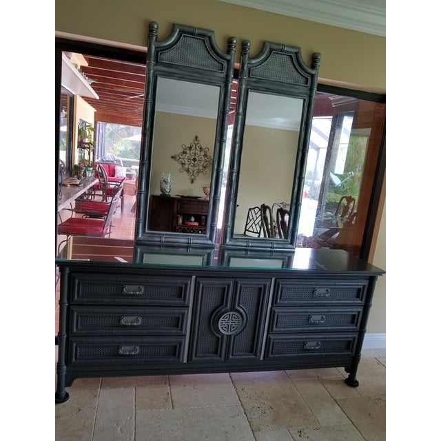 Vintage Wood Faux Bamboo Credenza & Mirror - Image 3 of 9