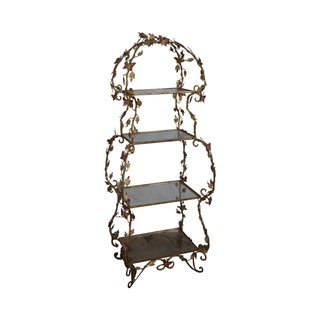 Butterfly Hand Painted Gilt Metal Vintage Etagere