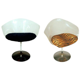 Charles Hollis Jones Lucite and Chrome Swivel Chairs