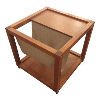 Mid-Century Danish Modern Teak & Linen Magazine Table