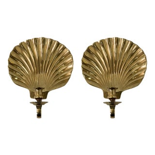 Decorative Arts Solid Brass Shell Sconces - A Pair