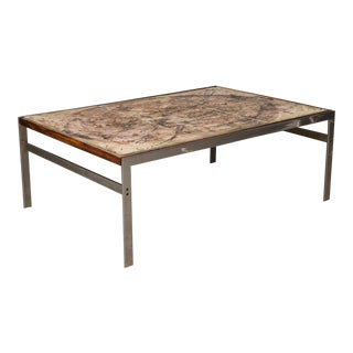 Hand-Painted Tile Coffee Table with Rosewood and Chrome Frame