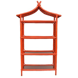 Orient Orange Rattan Pagoda Shaped Etagere