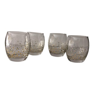 Gold Dot Confetti Roly Poly Glasses- Set of 4