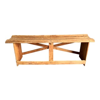 Vintage Wooden Train Station Bench