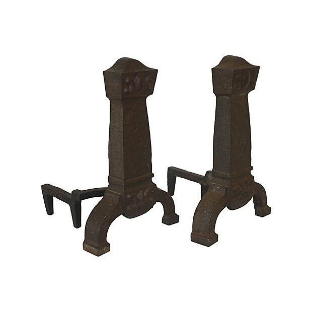Image of Antique Arts & Crafts Andirons - A Pair